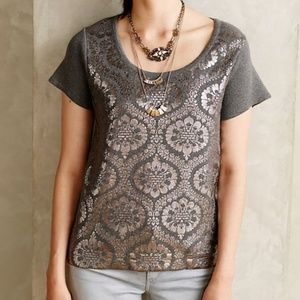 Anthro Moth Drawing Room Foil Metallic Pullover S